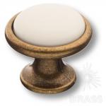 3008-40-000 Ручка кнопка керамика с металлом, белый/старая бронза