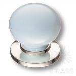3005-51-BLUE Ручка кнопка керамика с металлом, голубой/глянцевый никель