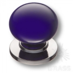 3005-10-COBALT Ручка кнопка керамика с металлом, синий/глянцевый хром