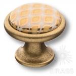 3008-40-000-456 Ручка кнопка керамика с металлом, белый с орнаментом/старая бронза