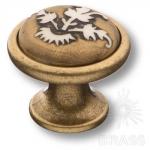 3008-40-EMBOSSING Ручка кнопка керамика с металлом, орнамент/старая бронза