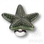 STAR 001 Ручка кнопка керамика, зелёный/глянцевый хром