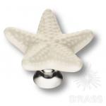 STAR 003 Ручка кнопка керамика,  белый/глянцевый хром