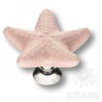 STAR 004 Ручка кнопка керамика,  розовый/глянцевый хром