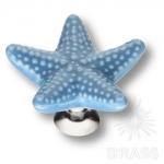 STAR 006 Ручка кнопка керамика, голубой/глянцевый хром
