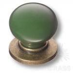 3005-40-GREEN Ручка кнопка керамика с металлом, зелёный/старая бронза