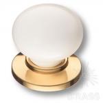 3005-60-000 Ручка кнопка керамика с металлом, белый/глянцевое золото