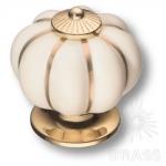 S-101 GOLD CREAM Ручка кнопка керамика с металлом, молочный/глянцевое золото