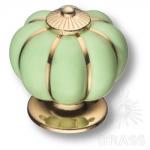 S-101 GOLD GREEN Ручка кнопка керамика с металлом, зелёный/глянцевое золото