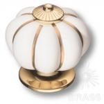 S-101 GOLD WHITE Ручка кнопка керамика с металлом, белый/глянцевое золото