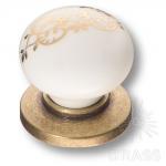 3005-40-000-243 Ручка кнопка керамика с металлом, белый с орнаментом/старая бронза